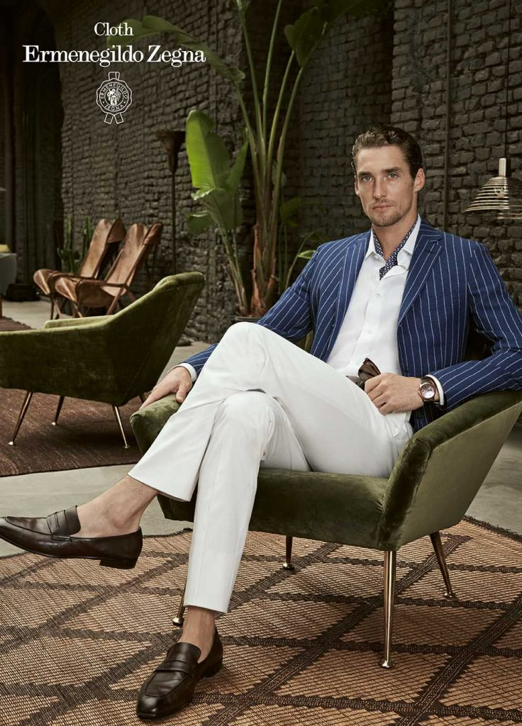 Blue with White Chalk Stripe Linen and Silk Sport Jacket with White Cotton Trouser