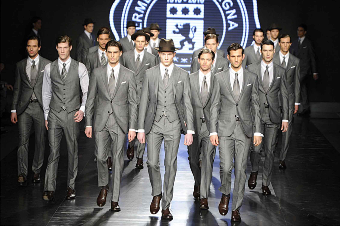 zegna fashion show mens luxury Italian grey suits